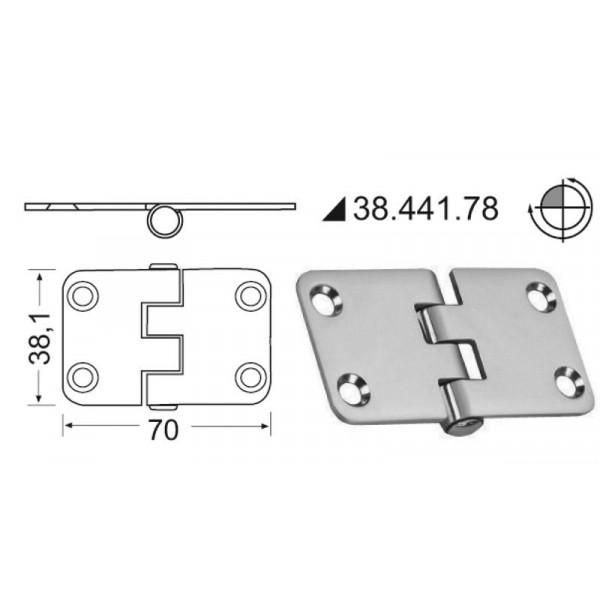 Osculati-38.441.78-Cerniera inox rovesciata 70x38,1 mm-30