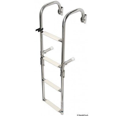 Foldable ladders with arch mounting arms
